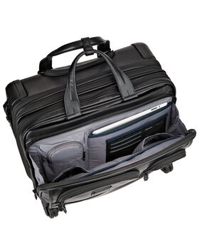 Deluxe Leder-Aktentasche auf 4 Rollen mit Laptophülle Alpha 2